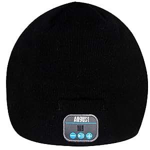 August EPA20 Bluetooth 帽子 Bluetoothニット帽子 音楽やハンズフリー通 話可能 スマホ iPhone iPad PC タブレットなどに対応 黒