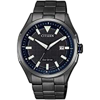 Citizen Eco-Drive Solar Black Stainless Steel Mens Watch AW1147-52L