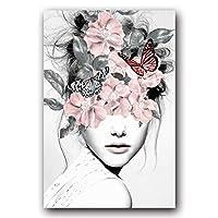 PLMQA 装飾画 ミニマリスト抽象ガールキャンバス絵画アートプリントポスター画像壁リビングルームホームデコレーション