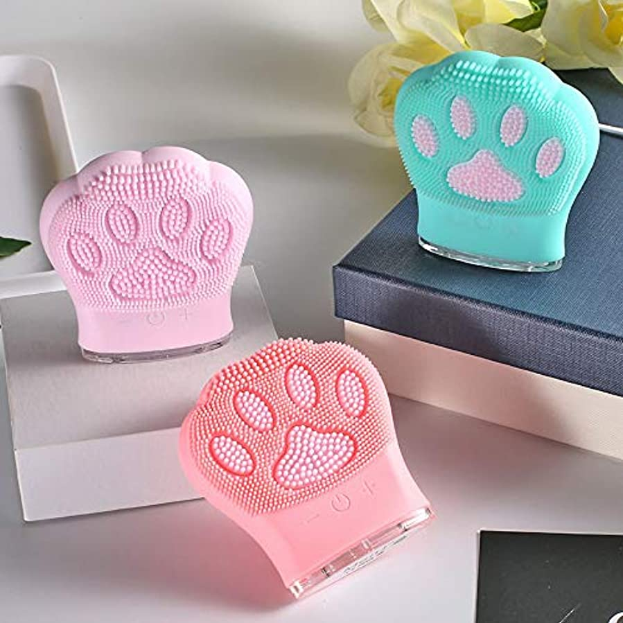 帳面バース勇敢なZXF 新しい猫の爪形状シリコーンクレンジング楽器超音波充電洗顔器具ガールフレンド小さなギフト洗浄ブラシピンク赤青セクション 滑らかである (色 : Pink)