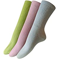 Womens Diabetic Crew Socks (3-Pack) 9-11, (Green, Pink, Blue), Made in the USA