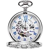 TREEWETO Hollow Mechanical Pocket Watch Silver Flower Vine Skeleton Roman Numerals