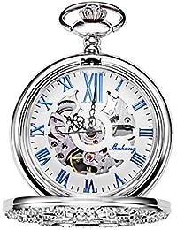 TREEWETO 機械式 懐中時計 ホロー 銀の花の蔓 スケルトン ローマ数字表示