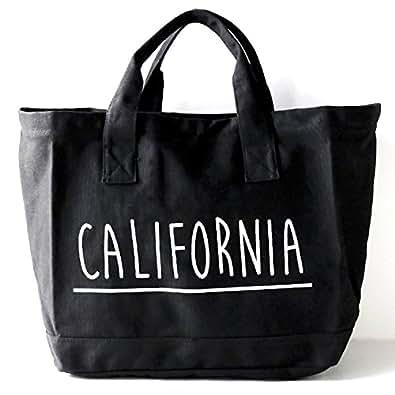 delawears (デラウェアズ) キャンバス ビッグ トートバッグ ファスナー付き ランドリーバッグ 大容量 トート レディース メンズ マザーズバッグ A4 <CALIFORNIA ブラック>