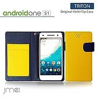 android one S1 ケース JMEIオリジナルホールドフリップケース TRITON イエロー アンドロイド ワン Y!mobile ワイモバイル SHARP シャープ simフリー スマホ カバー スマホケース スマートフォン