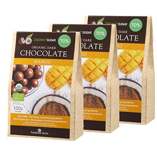 マンゴー オーガニックダークチョコレート ペルー産カカオ70% 有機ココナッツシュガー 100g 3個