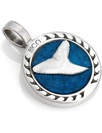 サーフ ビコ SURF BICO サメの牙 ペンダント (B113 水色) - 強さとスタミナのある人 - カラー樹脂とメタル 、トライバル?サーフ? ジュエリー