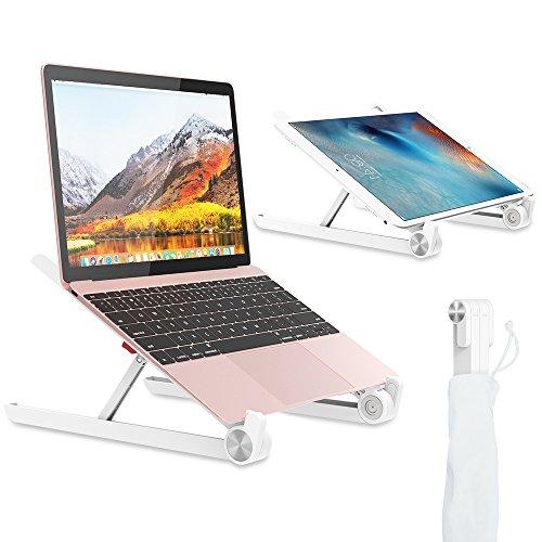 ノートパソコンスタンド 折りたたみ式パソコン用ホルダー ラップトップスタンド ノートMiiKARE タブレットPCスタンド 11∼17.3インチ用 iPad Pro Mac ノートNEC LAVIE DELL Inspiron Macbook Air HP マウスコンピューター Surface Pro MacBook Pro ASUS Lenovoに対応 放熱 角度調整可能 肩こり 猫背 腰痛対策 持ち運び便利 収納便利 ホワイト