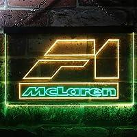 Mclaren F1 Car LED看板 ネオンサイン バーライト 電飾 ビールバー 広告用標識 グリーン+イエロー 30cm x 20cm