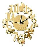 カラーが選べる ネコ 掛け時計 アンティーク お洒落 北欧 インテリア 黒猫 (ゴールド)