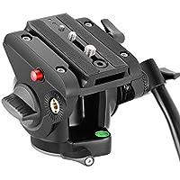 Neewer ヘビーデューティビデオカメラ三脚用流体雲台 ドラッグチルト 1/4と3/8インチネジ付きのスライドプレート付き DSLRカメラ、ビデオカメラ撮影に対応 最大耐荷重5kg アルミ合金製