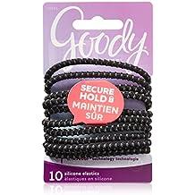 Goody Women's Slide Proof 4 mm Elastics, Black, 10 Count (Pack of 3)