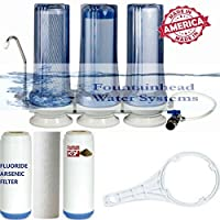 FOUNTAINHEAD 3 STAGE COUNTERTOP WATER FILTER FLUORIDE/CARBON/KDF FAUCET ADAPTER by Fountainhead Water System