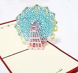 3D 立体 ポップアップ グリーティングカード 結婚祝い 誕生日 バレンタインデー ホワイトデー クリスマス ギフト おすすめ 飛び出す招待状 (LOVE2観覧車(ブルーバージョン))