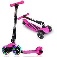 ALLEK キッズ スクーター 3輪 キックスクーター 子供 キックボード LED 光るホイール 3段階調整可能 後輪ブレーキ 折りたたみ式