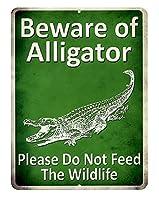 ワニにご注意!! Beware of Alligator 当店Sサイズ アメリカンブリキ看板