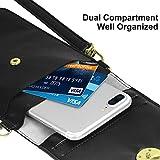 【新着】スマートフォンポーチ - ATiC 斜め掛け PUレザー製 スマートフォンバッグ/ミニショルダーバッグ/携帯ケース 小物入れ iPhone 7 Plus / 7 / 6s Plus / 6s / 6 / 5s / 5c, Samsung S8 / S7 Edgeに対応 - Black
