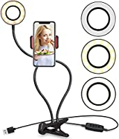 Selfie Ring Light with Cell Phone Holder Stand for Live Stream and Makeup, UBeesize LED Camera Light [3-Light Mode]...