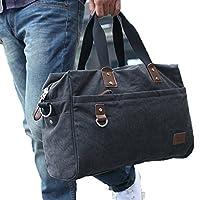 Everdoss メンズ キャンバス 帆布バッグ ファション 斜めがけバッグ レトロ風 多機能 3WAY 鞄 ショルダーバッグ 通勤通学出張旅行用 カジュアル 手提げバッグ 大容量 アウトドアカバン