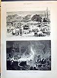 Print 1890Great Fire Salonica Mosque Saint Sophiaホームレスキャンプ