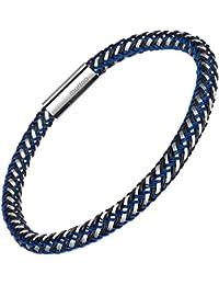 メンズブレスレットステンレス製 腕輪 アクセサリー21cm (ブルー)