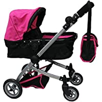 Mommy & Me 9651B Babyboo Doll Pram with Swiveling Wheels Adjustable Handle and Carriage Bag Pink [並行輸入品]