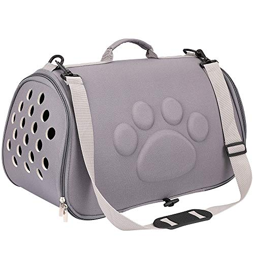 FREESOOペットキャリーバッグ 小型犬 ペットバッグ 猫用 小型犬キャリーケース 通気性抜群 折りたたみ 車載/スリング/手持ち グレイ