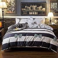 縞模様のストライプと星座のチェック柄のキルト4セットの寝具セット。 (Color : A, Size : 200×230)