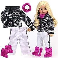 Sophia's 人形用衣装 スキー衣装 人形用 18インチ人形 雪だるま 4点セット 白黒幾何学プリント スキーコート ホワイトパンツ ベリーネックウォーマー ファーブーツ アメリカン人形などに最適