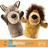 アニマル ハンドパペット2個セットー36cmプレミアム品質、のぬいぐるみハンドパペットは子供達のストーリーテリングに、教育、保育園、ロールプレイに最適のパペットのおもちゃです - BetterLine (ライオンとオオカミ)