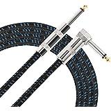 Donner 3M/5M ギター/ベース用ケーブル SL型 ギターシールド 生地編み (3M(ブルー))