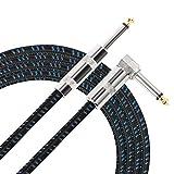 Donner 3M/5M ギター/ベース用ケーブル SL型 ギターシールド 生地編み (5.5M(ブルー))