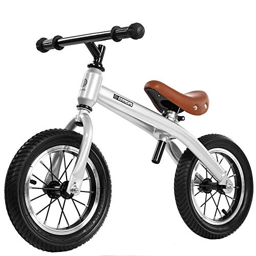バランスバイク ペダルなし自転車 子供用 クリスマスプレゼント 誕生日プレゼント 年末贈り物 バランス感覚養成 軽量 コンパクト ハンドルとサドルの高さ調整可 2歳~6歳子供用 スポーツモデル 組み立て簡単 (銀色)