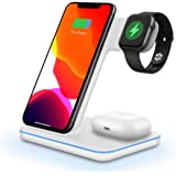 Wireless Charger 3 in 1 15W Fast Qi Wireless Charging Station for iPhone SE/11 Pro/8/X, Samsung Galaxy S20/S10/S8/Note 10/9,W
