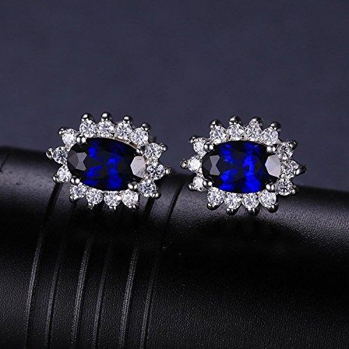 Jewelrypalace 1.2ct Kate Middleton's ケイトケイトミドルトン Diana プリンセス ユニック デザイン 誕生石 9月 ブルー 人工 サファイア イヤリング スターリング シルバー 925 ピアス スタッド レディース