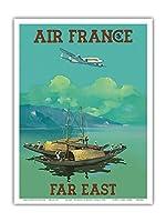 極東 - エアフランス - ビンテージな航空会社のポスター によって作成された ヴィンセント・グエラ c.1950s - アートポスター - 23cm x 31cm