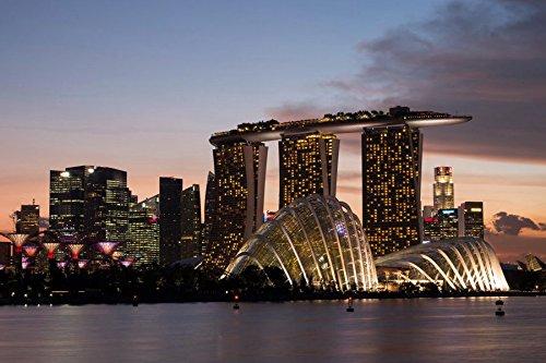 芸術はポスターを印刷します - シンガポールの超高層ビルホテル - キャンパスアートプリントポスター - 75cmx50cm