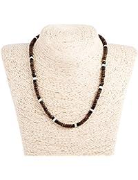 ブラウン ブラック / 漂白 ココヤシ木材 ネックレス