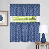 """Sweet Home Collection 3 Piece Kitchen Curtain Set Contemporary Design Pair and Valance, Blue, 36"""""""