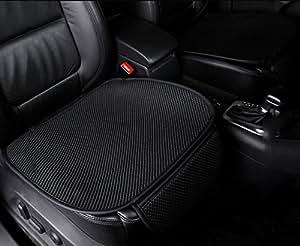 Umora 車用シートクッション 運転席 助手席 後部座席 着脱とても簡単 滑り止め 通気 旧汗 吸湿 ビスコースレーヨン(前部座席 ブラック)