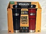 Stanley スタンレー Classic Vacuum Bottle ワンハンド真空マグ 473ml ネイビーとレットのお得な2本セット ステンレス水筒 並行輸入品 [並行輸入品]