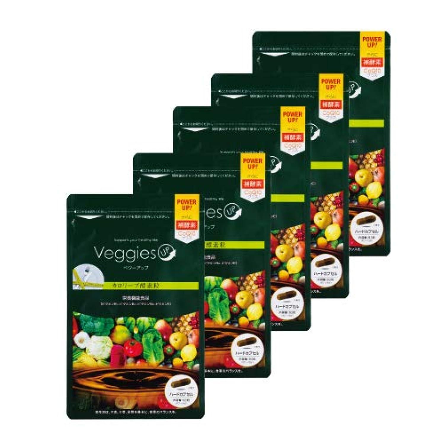 弾薬厚さ削るベジーアップ酵素粒カロリーブ 93粒 5袋セット ダイエット 酵素サプリ 酵素ダイエット サラシア コエンザイムQ10 竹炭