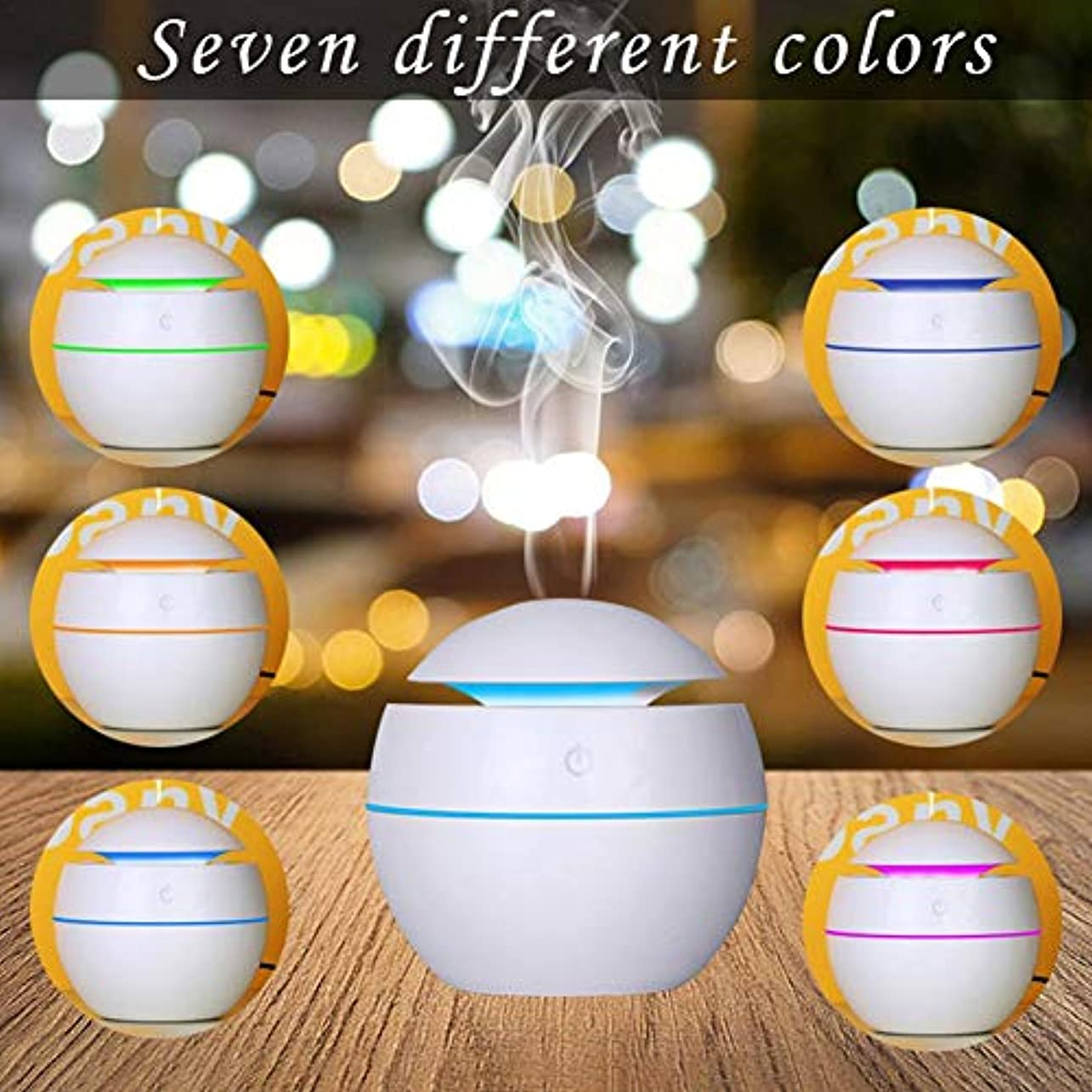 影響する尾クロニクル最新USB七色変換ミニアロマ加湿器 水分補給アロマディフューザー 静音空気浄化機 (カートン)
