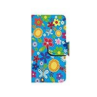 au iPhone5s トロピカルフラワー 青 スマホケース ブック 手帳型 カバー ql512-f0290(トロピカルフラワー 青)