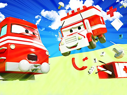 カーシティーにいる、列車のトロイとチェリーピッカーのチャック&救急車のアンバーがヘルプ|子供向け自動車&トラックアニメ