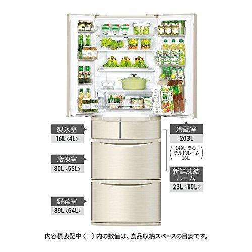 パナソニック411L6ドア冷蔵庫(シャンパン)PanasonicエコナビNR-F412V-N