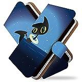 【KEIO】isai LGL22 手帳型 ケース カバー ねこ ネコ 猫 猫柄 イラスト LGL 22ケース LGL 22カバー イサイ 手帳型ケース 手帳型カバー 人気 かわいい [クロネコ 夜空 黒猫/t0188]