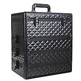 [プロ仕様]Hapilife コスメボックス 大容量 プロ用 メイクボックス 化粧品収納 仕切り付き ブラック