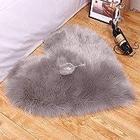 ALVAR ムートン フェイクファー ラグ ムートンラグ フェイクファー ふわふわの滑り止め寝室の台所床の居間の椅子 (シルバーグレイ 70*90cm)
