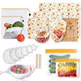 15 Pack Beeswax Food Wraps, Food Storage Bags,Refrigerator Silicone Bags, Mesh Produce Bags, Silicone Stretch Lid Covers, Seal Clip Reusable Bee Wrap Food Preservation Storage Set for Meat Sandwich